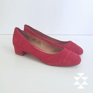 Red Suede Halogen Flat Shoes Heels NWOT 9